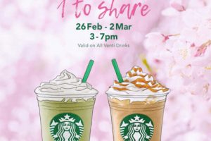 1 For 1 Any Starbucks Venti-Sized Beverage Promotion 26 Feb - 2 Mar 2018