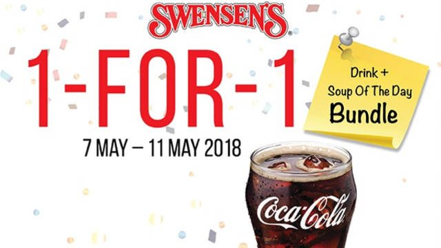 Swensen's 1 For 1 Drink + Soup of The Day Promotion 7 – 11 May 2018