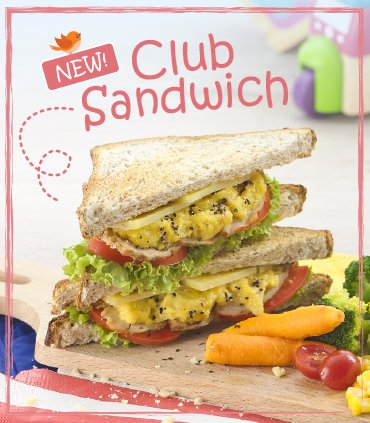 Club Sandwich - Roasted Chicken, Scrambled Eggs, Emmental Cheese & Wholesome Greens