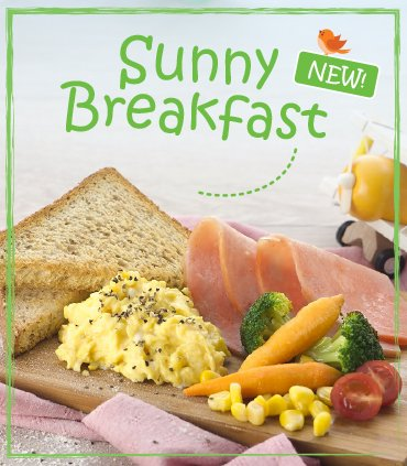 Sunny Breakfast - Wholemeal Toast, Ham, Scrambled Eggs & Wholesome Greens
