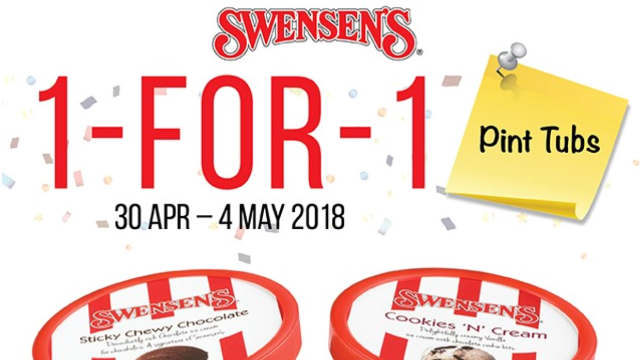 Swensen's 1 For 1 Takeaway Pint Tubs Islandwide Promotion Till 4 May 2018