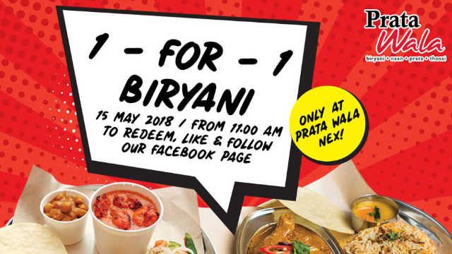 1 For 1 Prata Wala Biryani Promotion at Only Serangoon Nex 15 May 2018