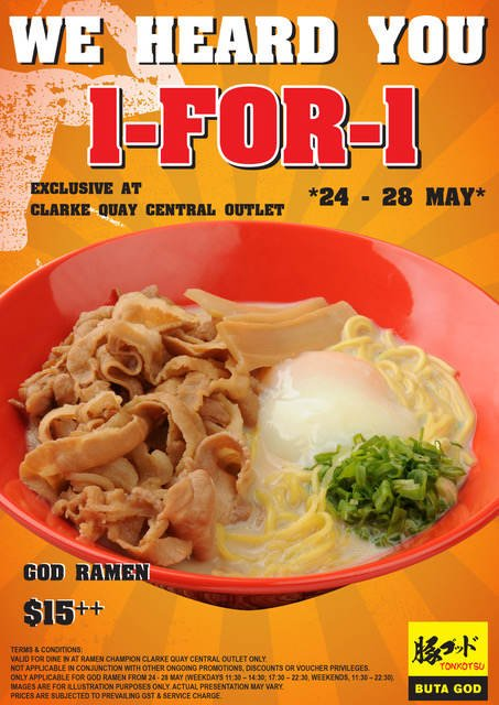 1 For 1 God Ramen Promotion at Ramen Champion Clarke Quay Central