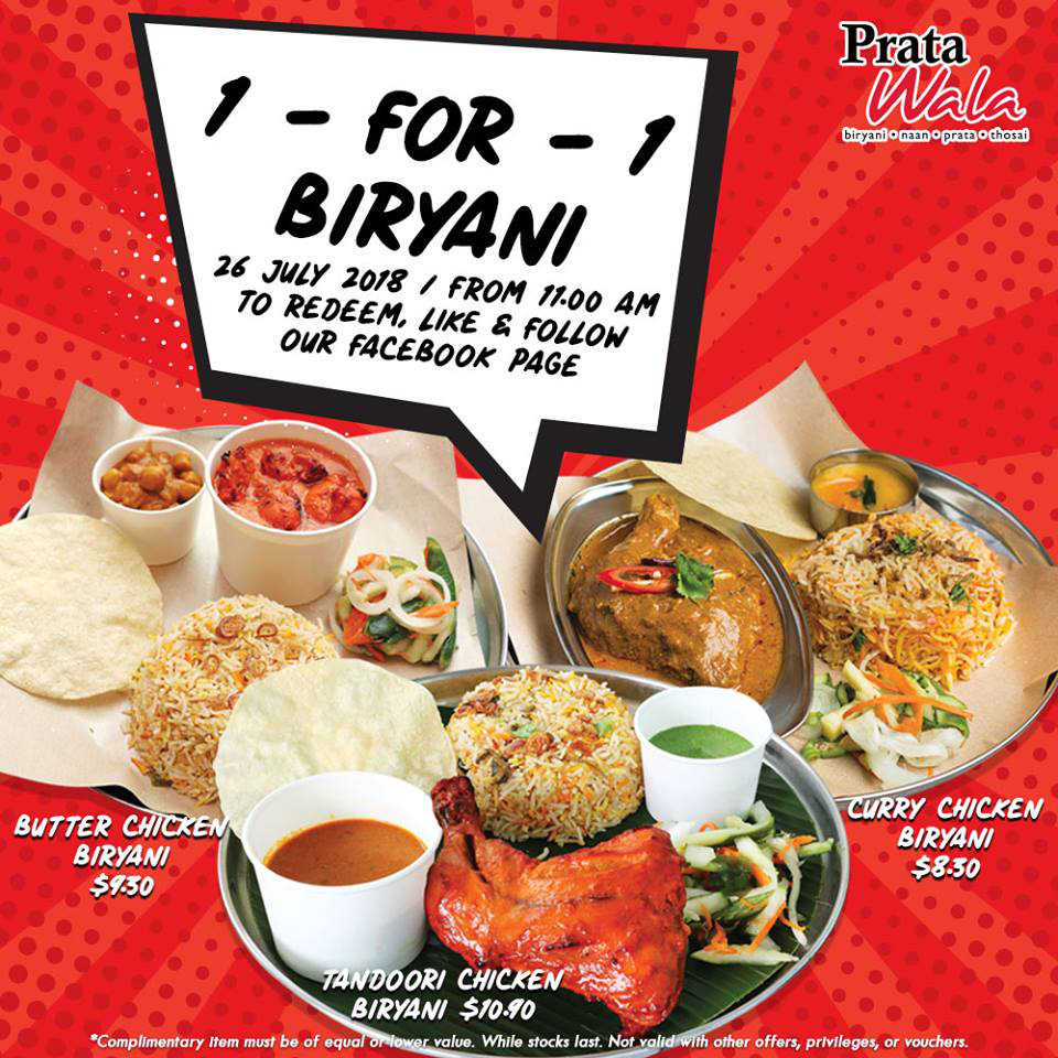 1 For 1 Biryani Promotion at Prata Wala