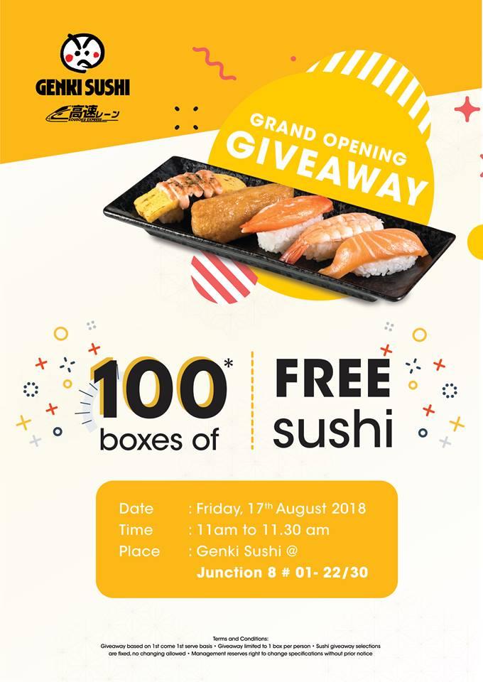 Grab Free Sushi Giveaway by Genki Sushi Junction 8