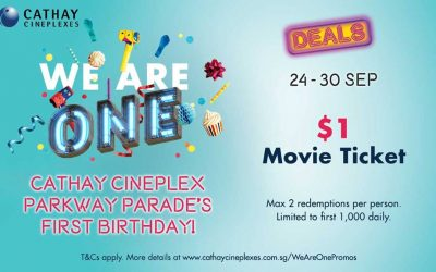 Get $1 Movie Tickets at Cathay Cineplex Parkway Parade