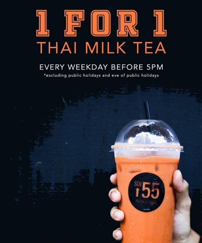 Soi 55 Buy 1 Get 1 Free Thai Milk Tea Promotion Every Weekday Before 5pm