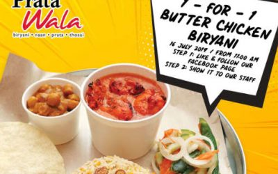 Prata Wala 1 For 1 Butter Chicken Biryani Promotion at All Outlets 16 July 2019