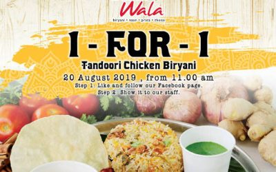 Prata Wala 1-for-1 Tandoori Chicken Biryani Promotion 20 August 19