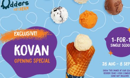 1 For 1 Udders Ice Cream Single Scoop Promotion at Kovan 28 Aug – 8 Sept 2019