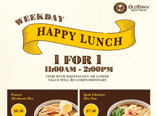 1 For 1 Old Town White Coffee Weekday Lunch Promotion at Jurong Point till 3 October 2019