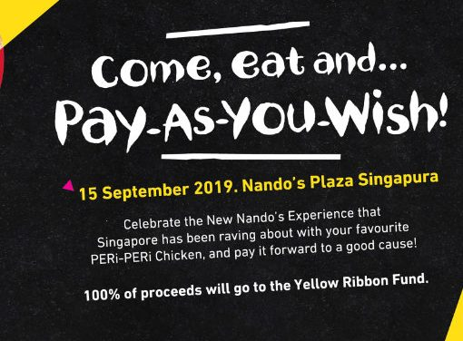 Pay As You Wish For a Good Cause at Nando's Plaza Singapura 15 September 2019