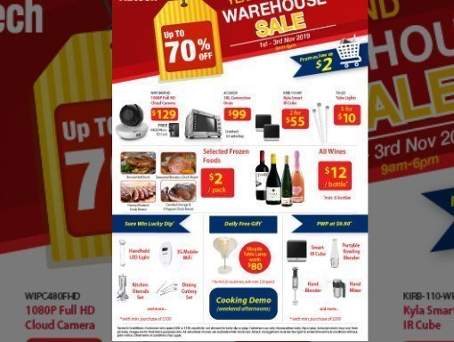 Eerie-sistable Deals up to 70% at Aztech Warehouse Sale 1st – 3rd November