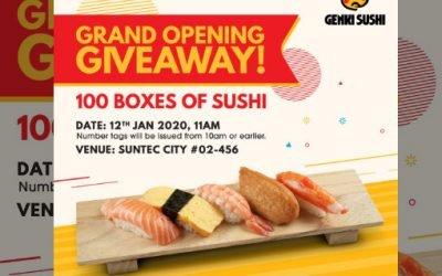 Free Genki Sushi Sushi Giveaway at Suntec City Outlet 12 Jan 20
