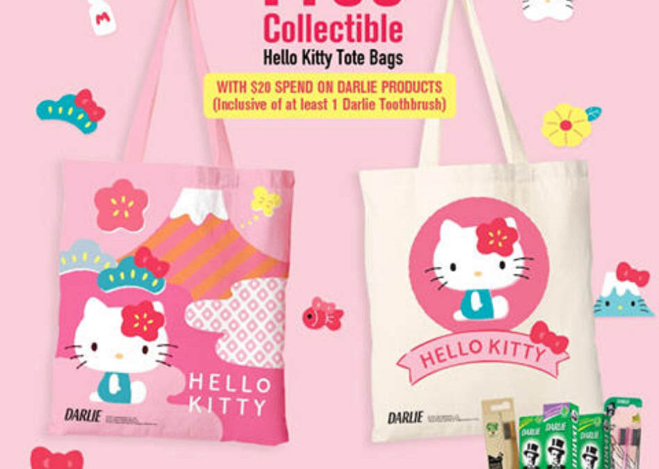 Get a Free Hello Kitty Tote Bag with Minimum $20 Spend on Darlie Products