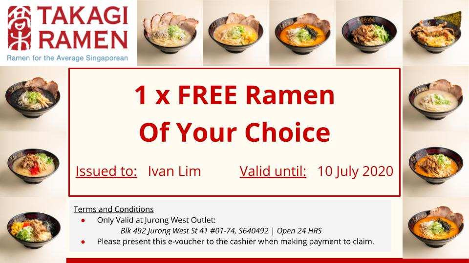 Takagi Ramen Free Ramen Giveaway Only To People Name of Ivan Lim