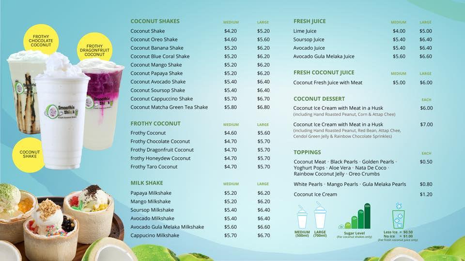 Smoothie Shiok menu